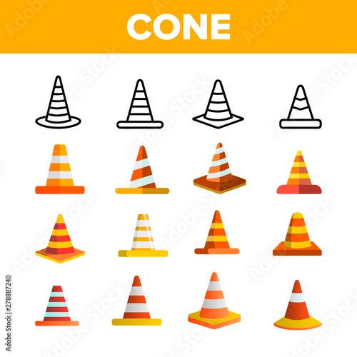 Photo Traffic Orange Cones Vector Color Icons Set