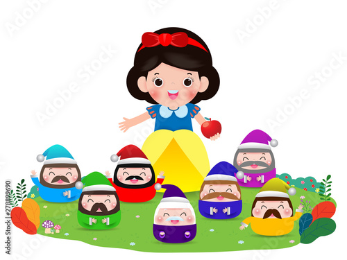 Canvas Print snow white and the seven dwarfs, Snow White isolated on white background, Prince