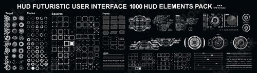 Fotografia Sci-fi futuristic blue hud dashboard display virtual reality technology screen