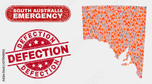 Photo Vector collage of firestorm South Australia map and red rounded textured Defection seal stamp