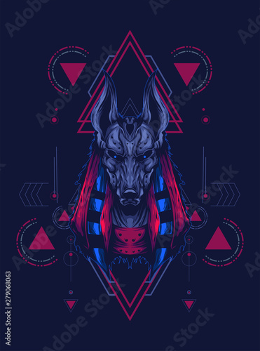 Fotografie, Obraz anubis head illustration with sacred geometry pattern as the background
