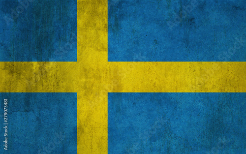 Wallpaper Mural Flag of Sweden with a raw, worn style