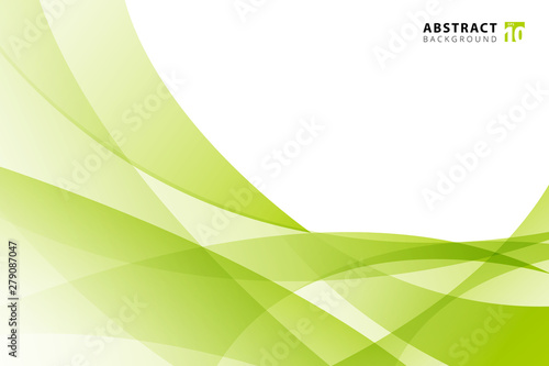 Abstract modern light green wave element on white background with copy space.