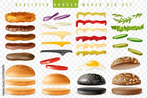 Fotografia Realistic burger maker big transparent background set