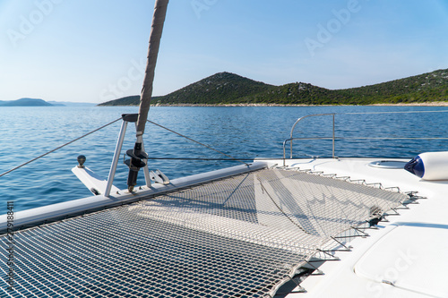 Tableau sur Toile Beautiful view from a yacht or catamaran at sea and moutains