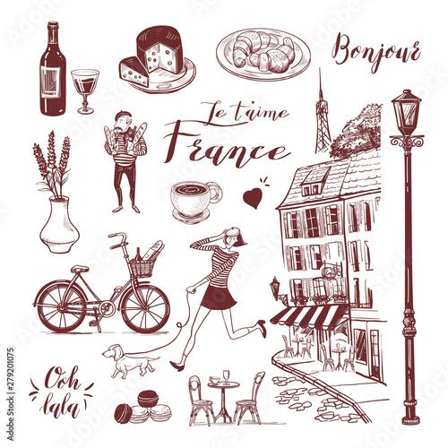 Vászonkép French vintage set of cafe, girl and dachshund, man, bistro, etc