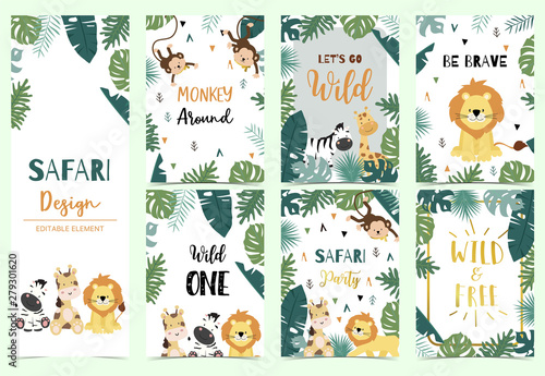 Green collection of safari background set with lion,zebra,giraffe,monkey.Editable vector illustration for birthday invitation,postcard and sticker.Wording include wild and free