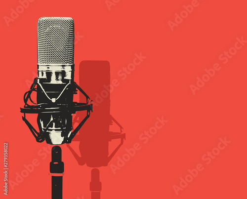Obraz na płótnie Vector banner with studio microphone on the red background in realistic style