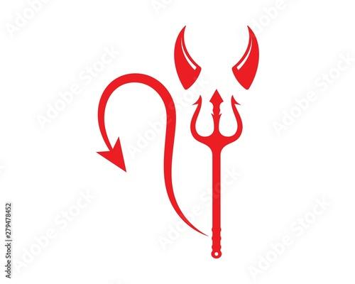 Valokuvatapetti devil horns logo icon vector illustration design