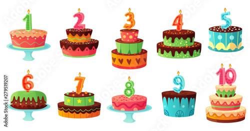 Cartoon birthday cake numbers candle Fototapet