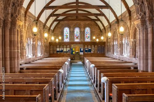 Slika na platnu Inside view of a church looking up  the aisle