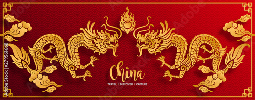 Foto Happy chinese new year 2020 year of the rat ,paper cut rat character,flower and asian elements with craft style on background