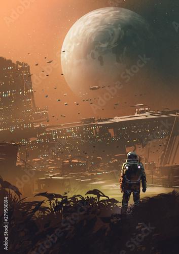 astronauta, patrząc na futurystyczne miasto na planecie, styl sztuki cyfrowej, malarstwo ilustracyjne