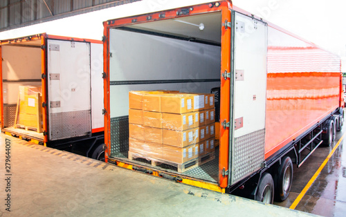 Canvas Print Package Boxes Load with Cargo Container