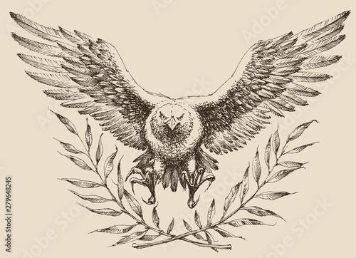 Photo Flying eagle, laurel wreath emblem. Strenght and freedom symbol