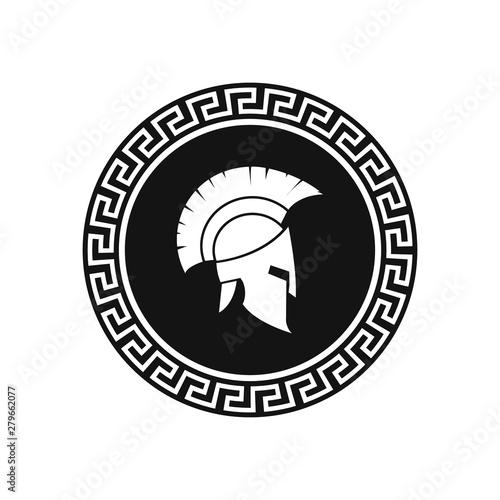 Obraz na płótnie Spartan helmet with shield illustration. Vector.