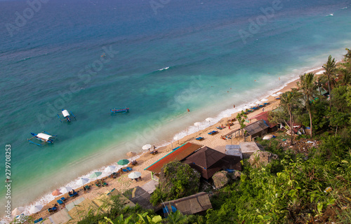 Fotografiet Birds eye view of Thomas beach, Bali, Indonesia.