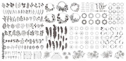 Fotografia, Obraz Big set with wreath, design elements, frames, calligraphic