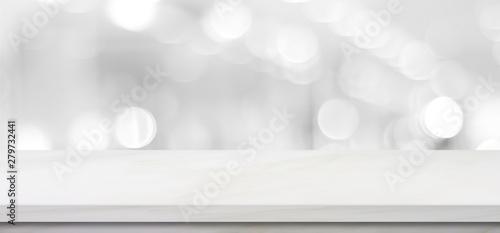 Fotografia Empty white table top, counter, desk background over blur perspective bokeh ligh
