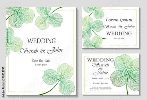 Fotomural Set Wedding invitation with clover leaves, isolated on white