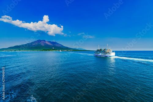 Fototapeta Landscape of Sakurajima island and Kagoshima ferry in Kagoshima Japan