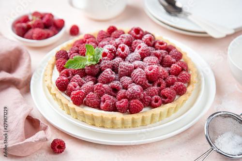raspberry yogurt tart Fototapeta