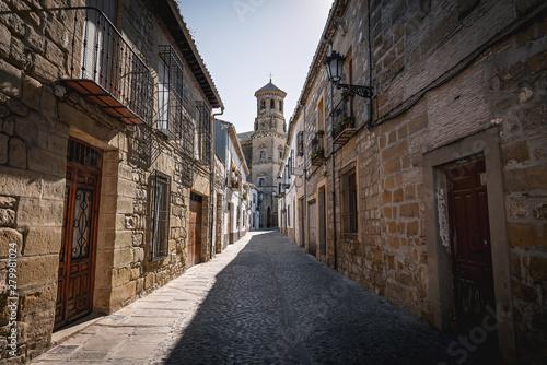 Obraz na plátne Medieval street of Baeza with old University Tower - Baeza, Jaen Province, Andal