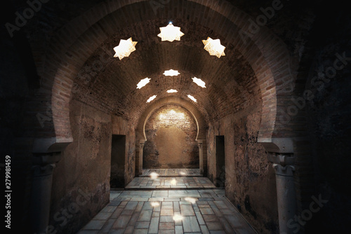 Interior of Arab Baths Ruins in Andalusia - Jaen, Andalusia, Spain