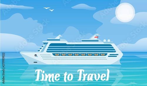 Fotografie, Obraz Cruise ship and travelling vector illustration