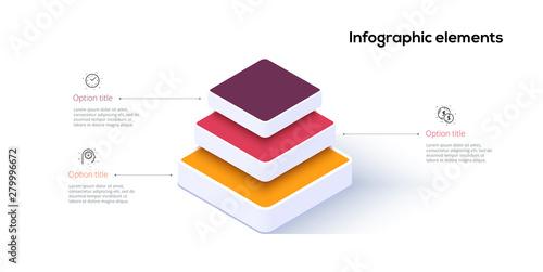 Obraz na plátně Business pyramid chart infographics with 3 steps