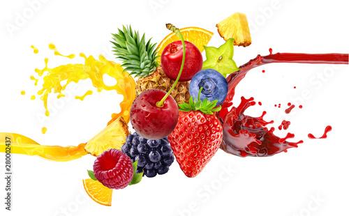 Canvas Print Fresh ripe orange, blackberry, strawberry, raspberry, blueberry, cranberry juice mix splash swirl with strawberry, blueberry, blackberry, raspberry