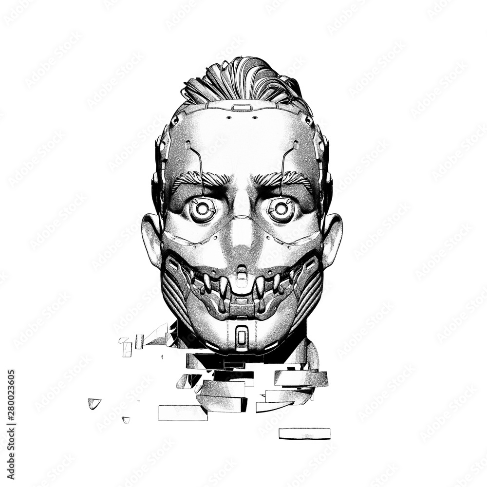 Surreal digital illustration of a cyborg head in a futuristic scary mask with teeth. Artificial face with damaged neck. Sci-fi creative soldier concept artwork. Cyberpunk robot man on white background - obrazy, fototapety, plakaty