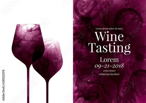 Fotografia, Obraz Illustration of two wine glass es, red wine stains