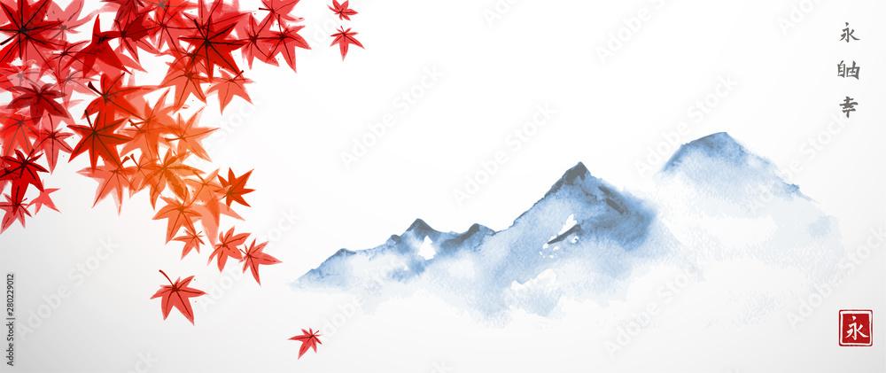 Czerwoni japońscy liście klonowi i dalekie błękitne góry. Tradycyjne japońskie malowanie tuszem sumi-e. Hiieroglify - wieczność, wolność, szczęście <span>plik: #280229012   autor: elinacious</span>