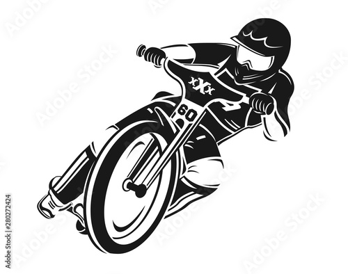 Canvas Print Speedway motorcycle vector illustartion.