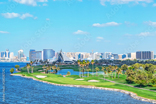 Dubai Golf and Yacht club with its green and lush golfcourse at the Dubai Creek Poster Mural XXL