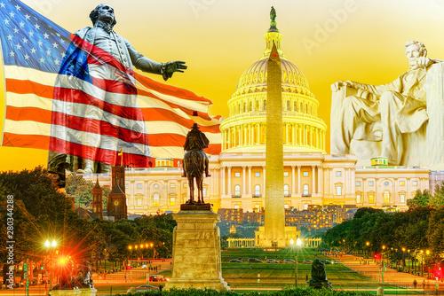Canvas-taulu Washington, USA, Washington Monument is an obelisk on the National Mall