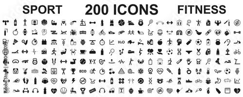 Slika na platnu Set 200 isolated icons spotr - fitness