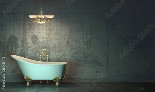 Photo Dark room in the twilight with classic style bath and chandelier with gold-plated elements standing on the floor  in front of the concrete wall