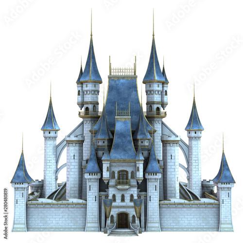 Fotografiet 3D Rendered Fairy Tale Castle on White Background - 3D Illustration
