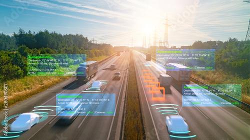 Fotografia Smart car (HUD) , Autonomous self-driving mode vehicle on highway road iot conce