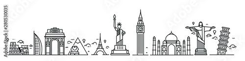 Travel the world monument concept - Vector Flat Line Art Design. Fototapeta