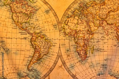 Vintage illustration of ancient atlas map of world on old paper.