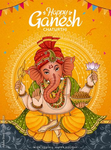 Canvas Print Happy Ganesh Chaturthi poster