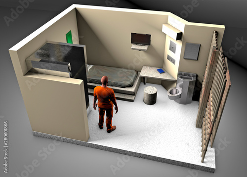 Fotografia 3d reconstruction of a prison cell, ADX Florence Supermax, Colorado penitentiary