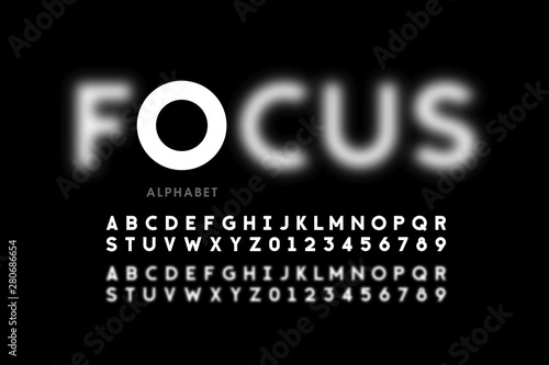 Fotografia In focus style font design, alphabet letters and numbers