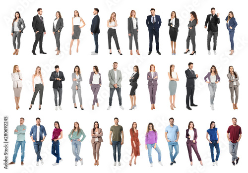Fotografia Collage of emotional people on white background