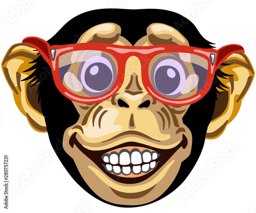 Photo Head of cartoon chimp ape or chimpanzee monkey wearing glasses and smiling cheerful with a big smile on face showing teeth