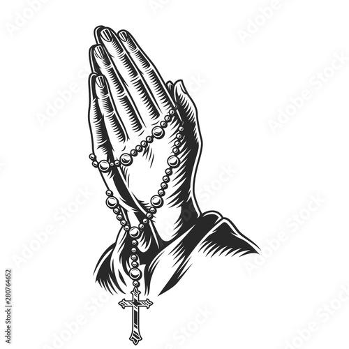 Obraz na plátně Praying hands holding rosary beads