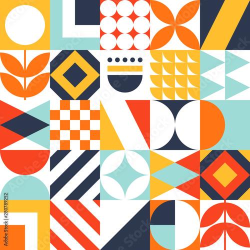 Obraz na plátne Abstract seamless bauhaus pattern